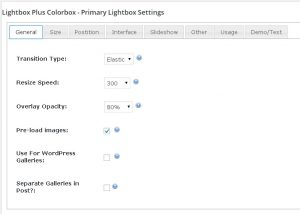 Lightbox Plus Colorbox. Settings