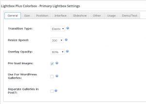 Lightbox Plus Colorbox. Settings