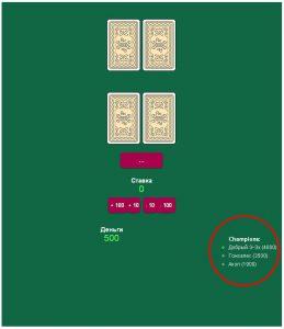 Blackjack. Hi-Score List